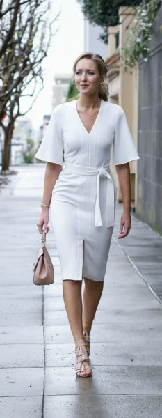 white half sleeve tie waist v neck midi dress