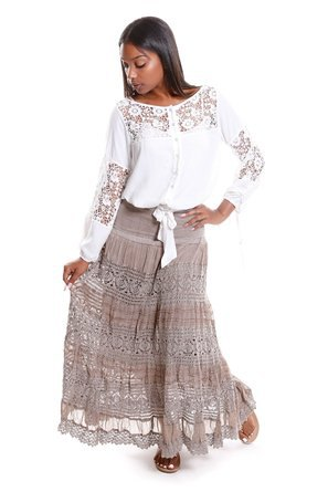 white lace blouse pink peasant skirt
