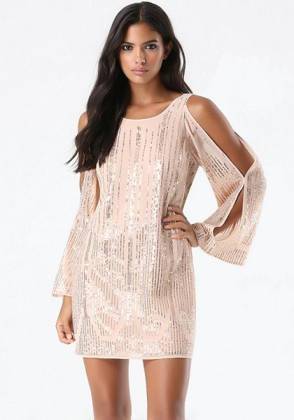 white long sleeve cold shoulder sequin cocktail dress