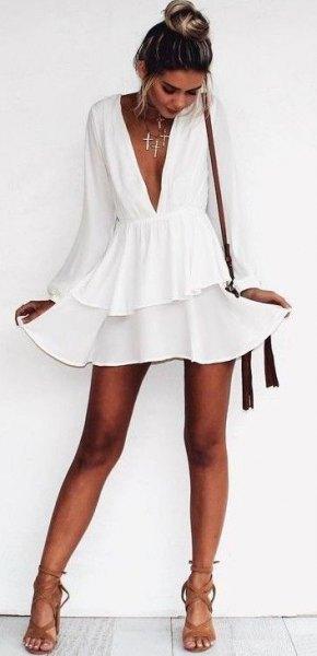 white long sleeve deep v neck chiffon skater dress