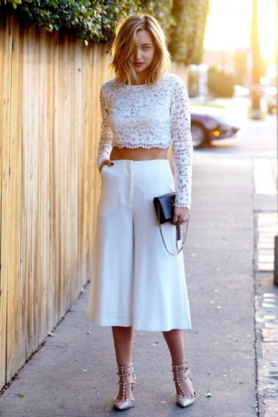 white long sleeve lace crop top with culottes