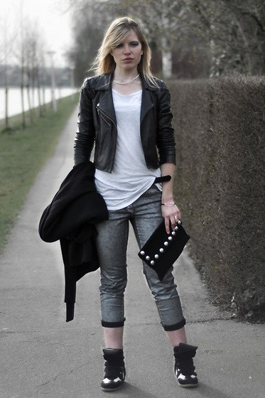 white long tee black leather jacket
