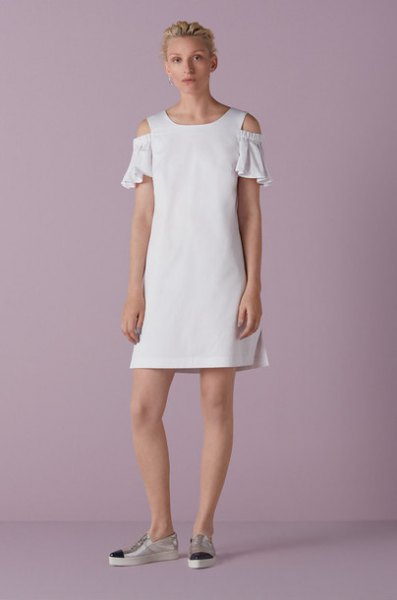 white open shoulder ruffle sleeve mini shift dress