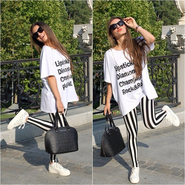 white oversized print tee vertical striped leggings