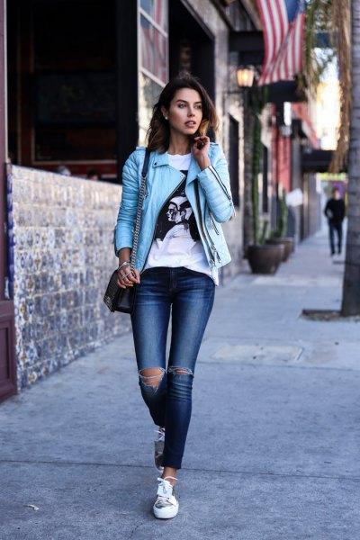 white print tee sky blue leather jacket