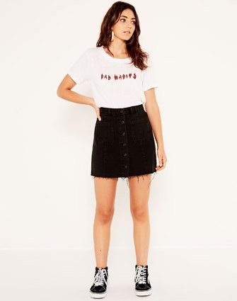 234bf2634e0d3 What To Wear With A Black Denim Skirt | Skirt Direct