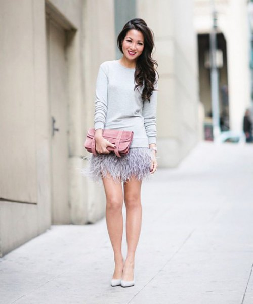 white relaxed fit sweater pink mini feather skirt