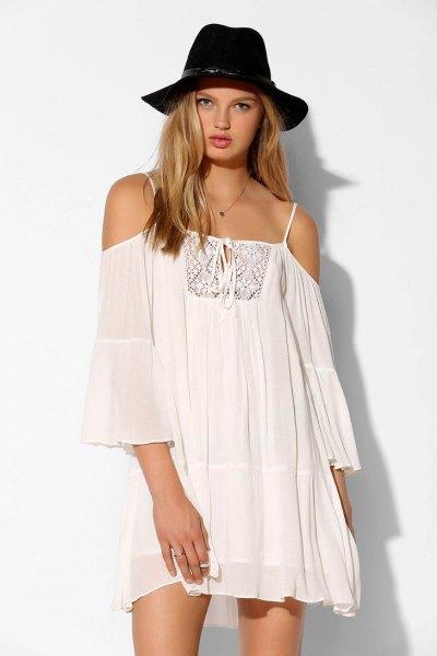 white semi sheer open shoulder chiffon swing dress