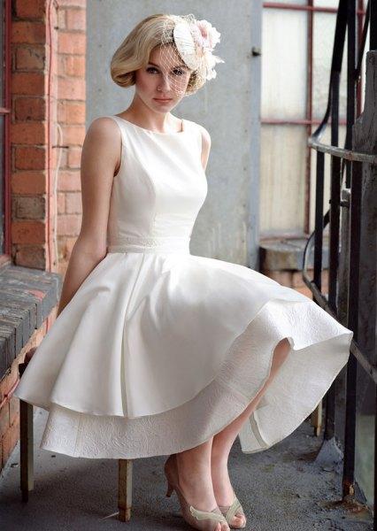 white sleeveless double layered maxi swing dress