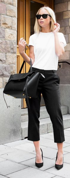 white t shirt with black capris heels