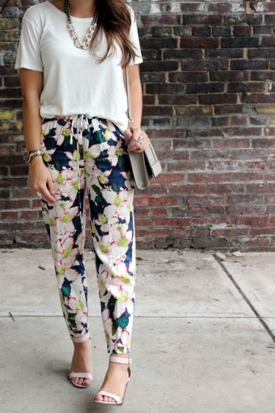 white t shirt with navy floral pants