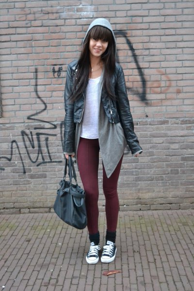 white tee with grey hooded cardigan black leather jacket