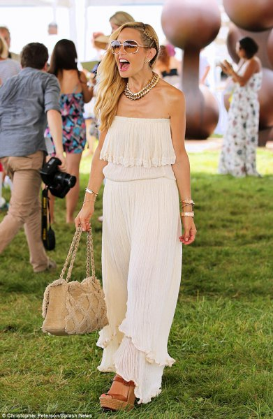 white tube pleated maxi dress with nude heeled sandals