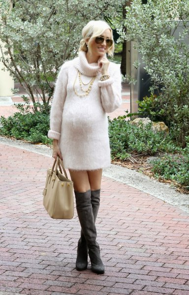 white turtleneck knit sweater dress grey over the knee boots