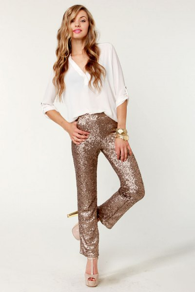 white v neck blouse rose gold straight leg glitter pants