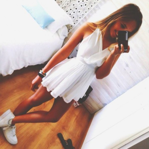 white v neck mini pleated and flared dress
