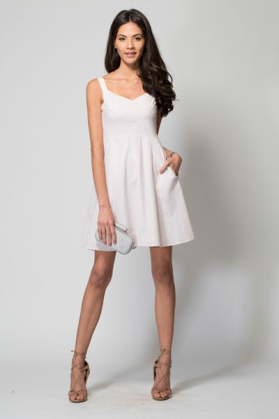 white wide v neck mini swing dress