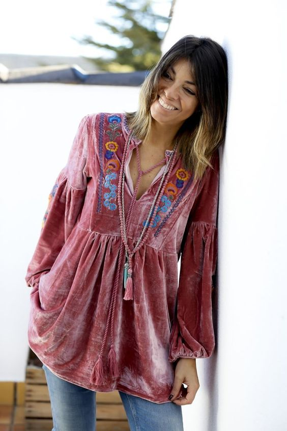 velvet tunic embroidered pink