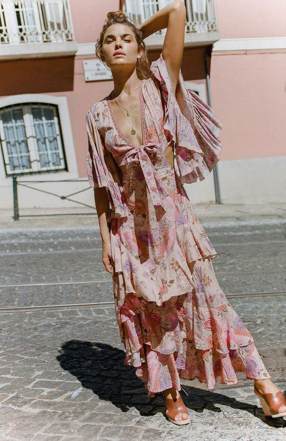 pink sundress floral maxi