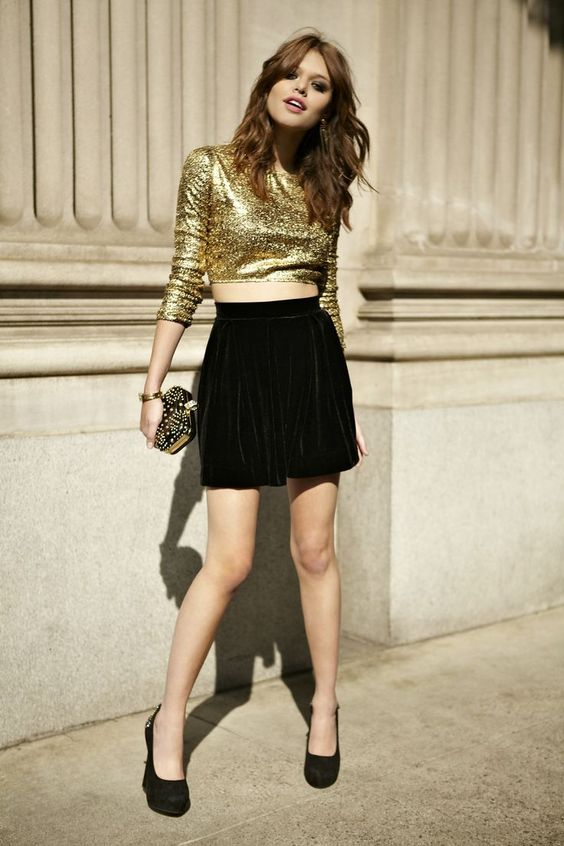 sequined crop top mini skirt