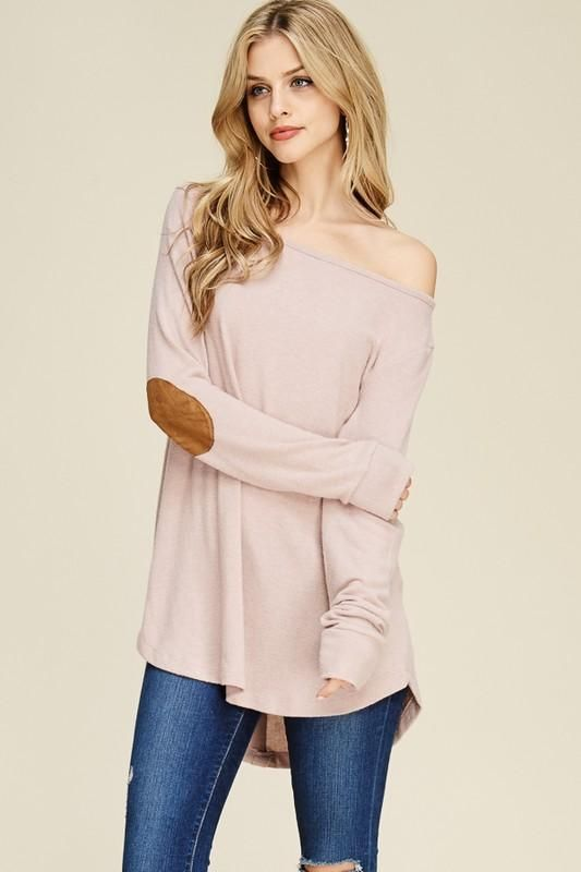 elbow patch shirt pink