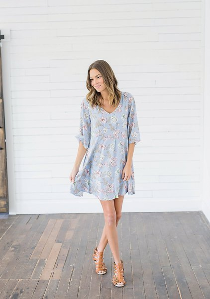 baby blue and white floral printed half sleeve swing dress