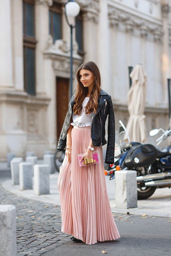 5fe439dab How to Style Pleated Maxi Skirt: 15 Refreshing & Chic Outfit Ideas ...