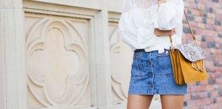 best button front denim skirt outfit ideas