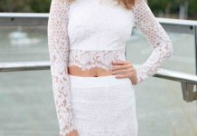 best white lace long sleeve top