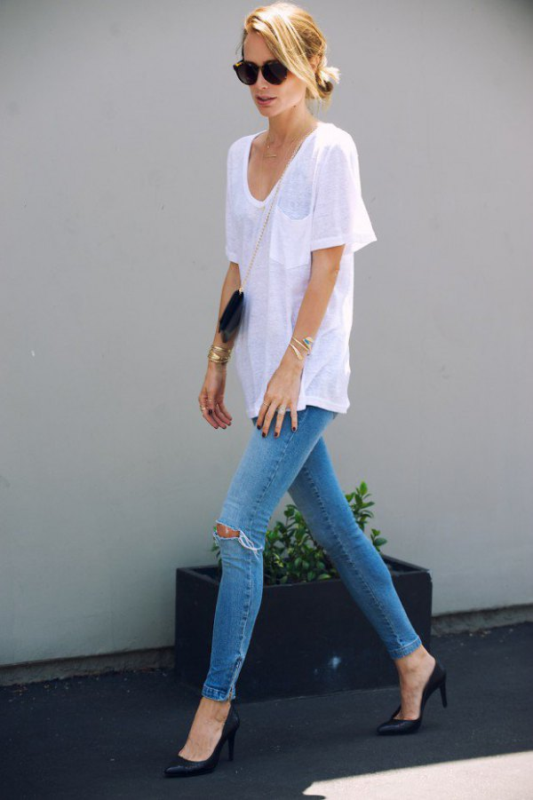 best white v neck outfit ideas