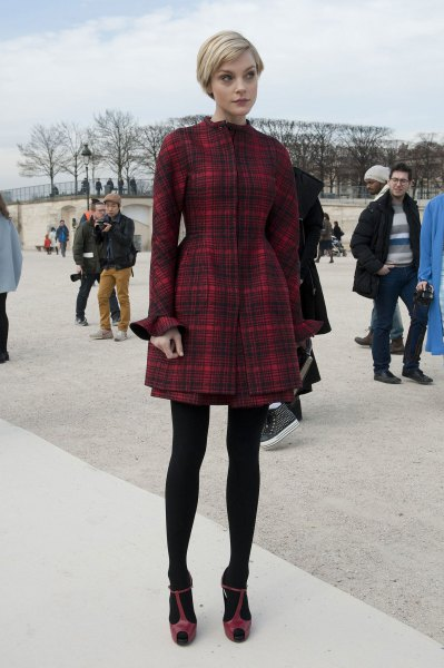 black and burgundy tartan fit and flare jacket dress