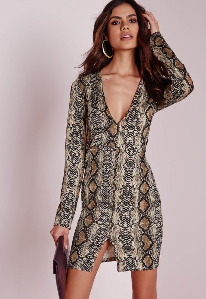 black and crepe tribal printed plunge mini dress
