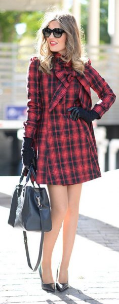 black and red long sleeve wrap mini dress
