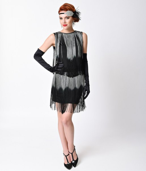 black and silver fringe gatsby style dress