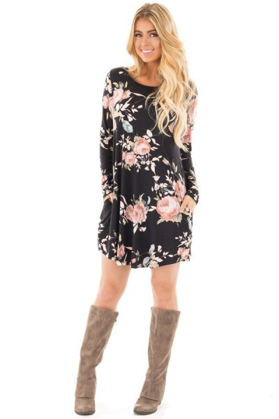 black and white floral tunic dress with grey suede knee high boots