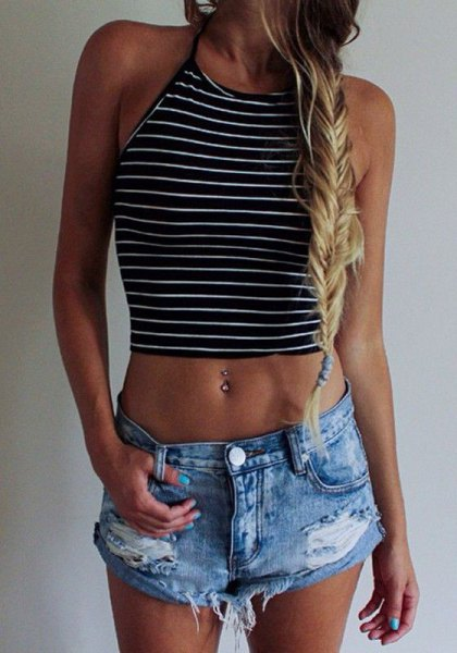 black and white horizontal striped crop tank with ripped denim shorts