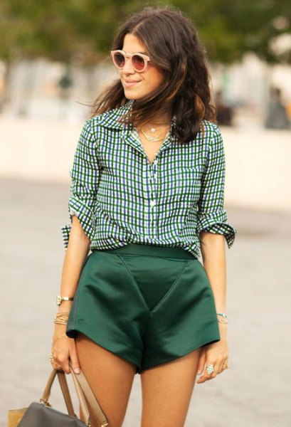 black and white plaid shirt with flowy silk mini shorts