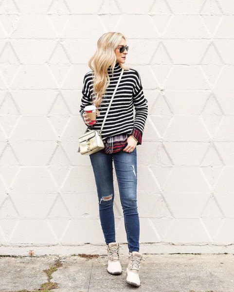 black and white striped long sleeve t shirt with white duck boots