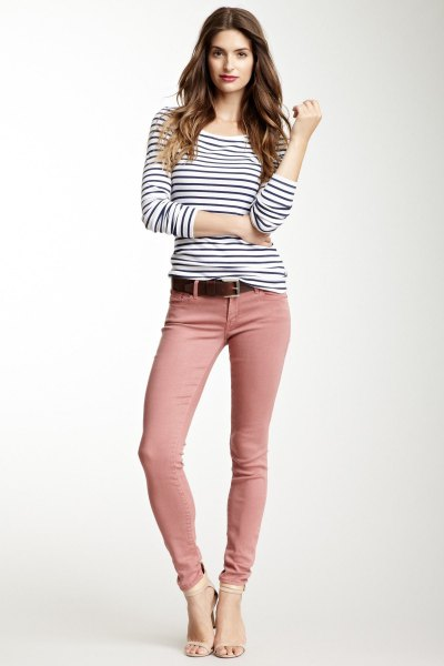 black and white striped long sleeve tee with pink skinny jeans