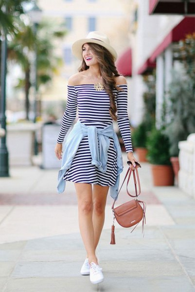 black and white striped off the shoulder mini skater dress