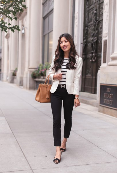 black and white striped sweater and blazer