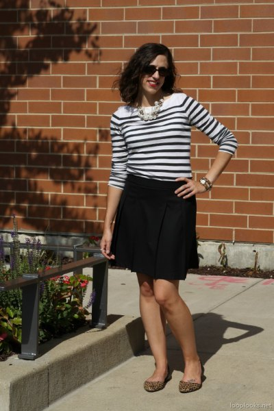 black and white striped sweater with mini skirt