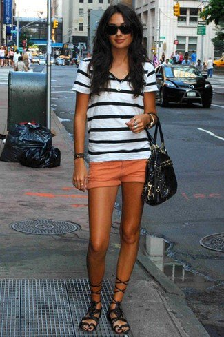 black and white striped t shirt with mini orange shorts