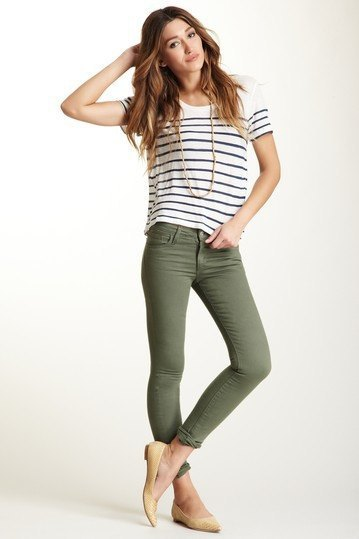 black and white striped t shirt with olive green skinny jeans