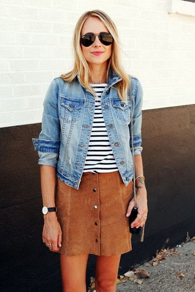 black and white striped tee and denim jacket