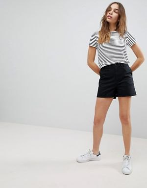 black and white striped tee with chino shorts