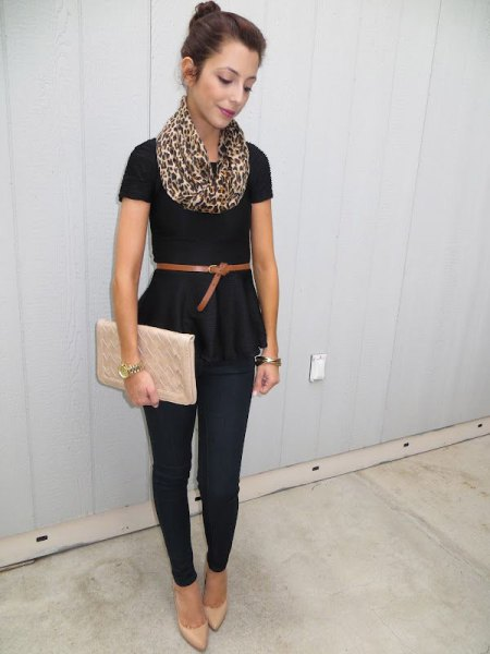 black belted short sleeve peplum blouse with pink clutch bag