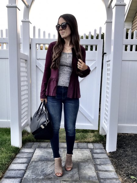 black blazer with heather grey tee and jeans
