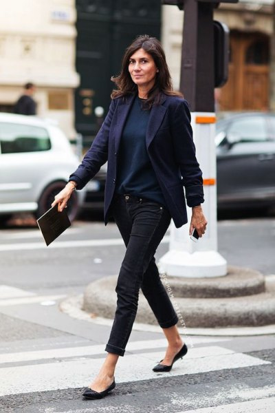 black blazer with sweater and kitten heels