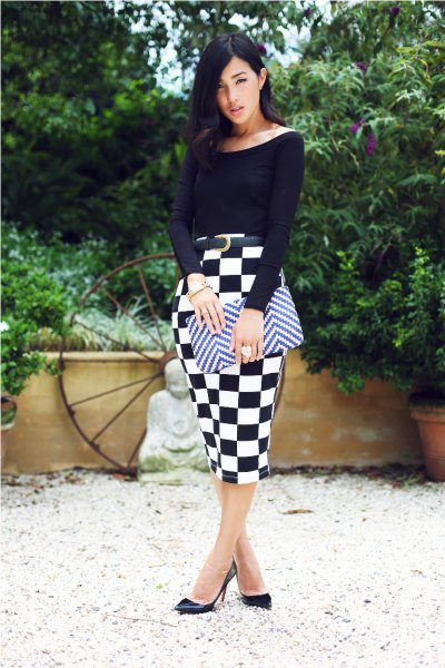 black boat neck top with bodycon midi checkered skirt